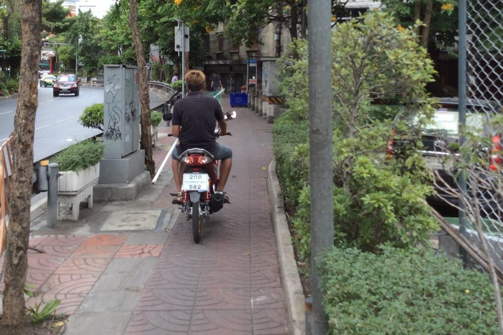 motorcycle on walking road Bangkok thailand