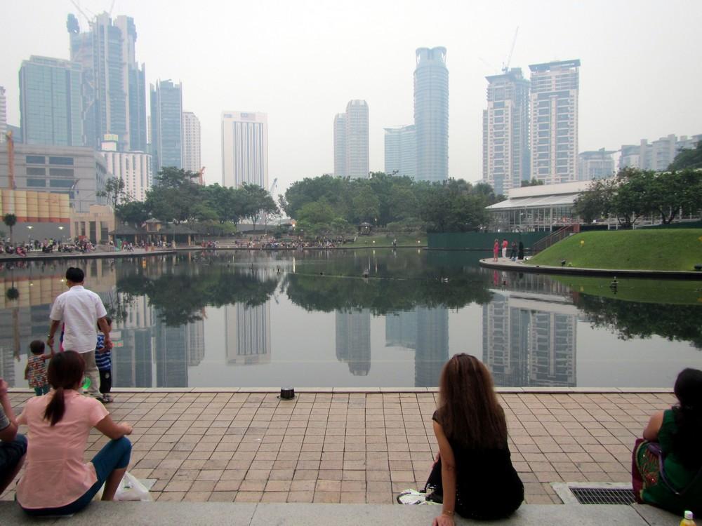park near Petronas Towers in Kuala Lumpur