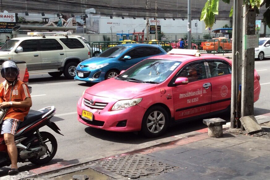 pink taxi in Bangkok Thailand