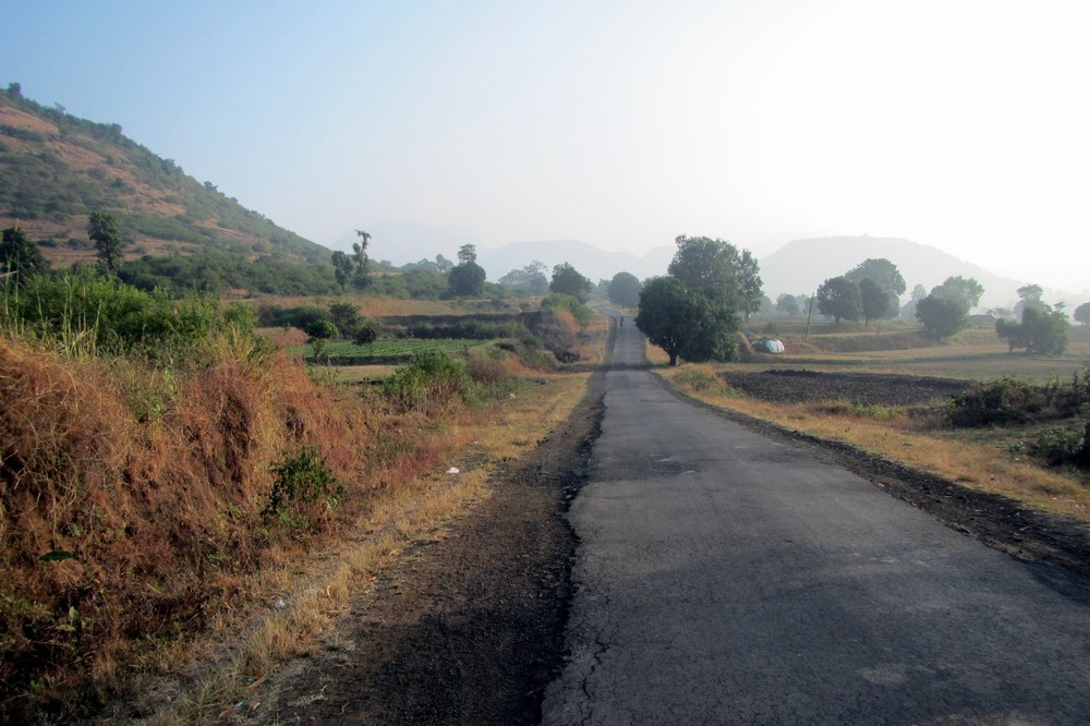 narrow road India - cycling across india
