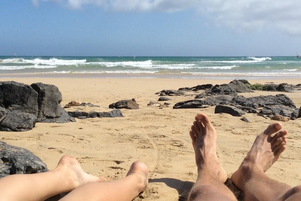 Kaspars and Una on beach