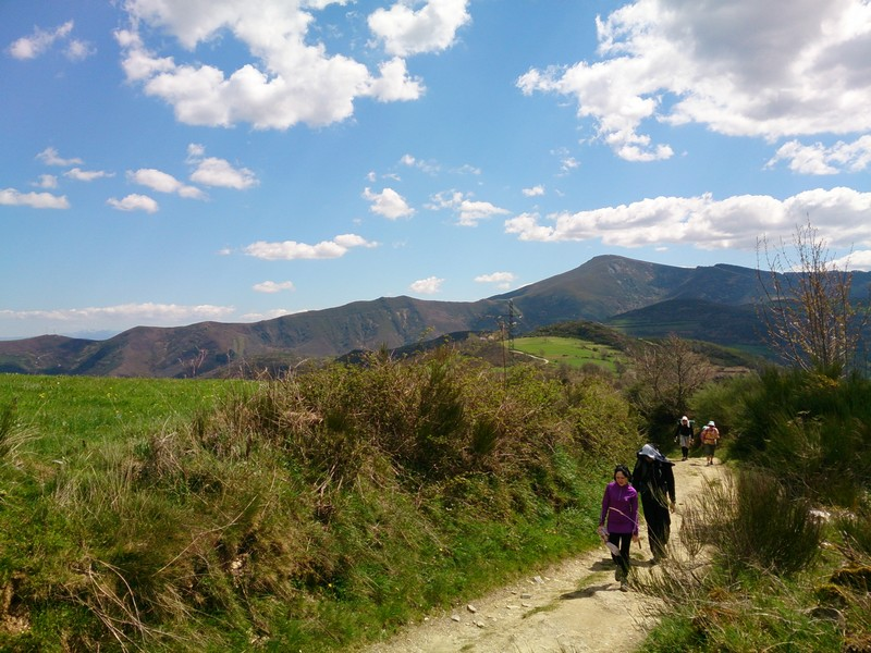 Walking in the mountains, walking Camino de Santiago, Spain