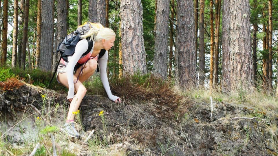 Zaiga walking in forest - walking across Europe