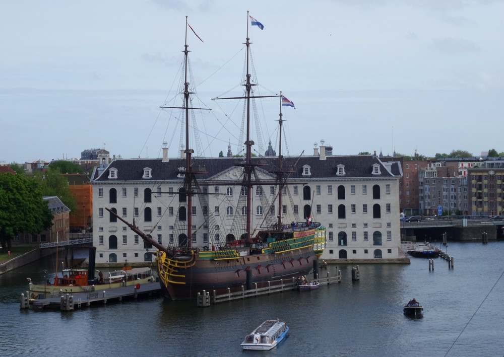 Ancient ship in the heart of Amsterdam