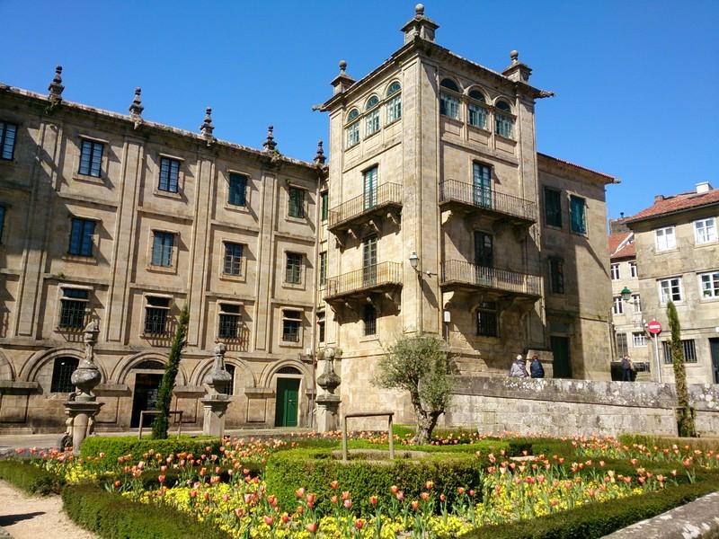 Arriving in Santiago de Compostella, Walking Camino de Santiago, Spain