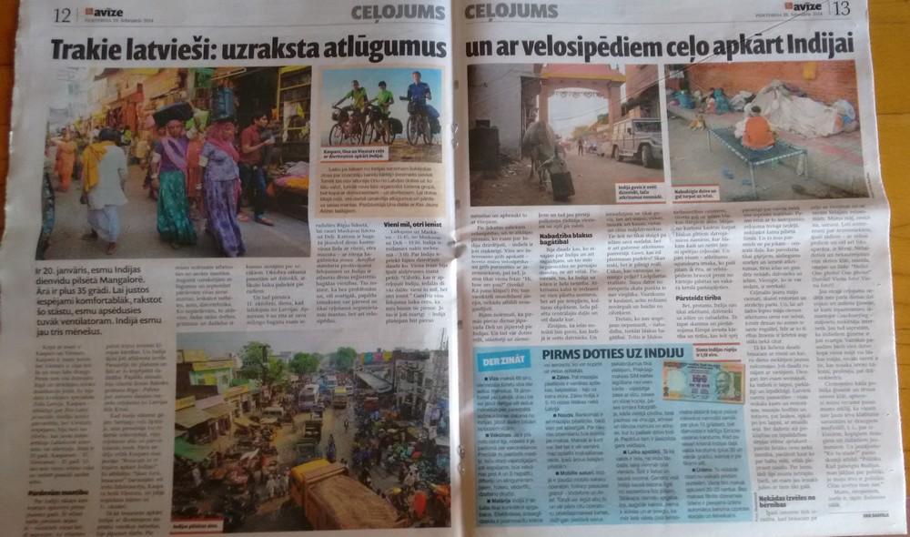 Trakie latviesi - uzraksta atlugumus un ar velosipediem celo apkart Indijai - Kas Jauns - media