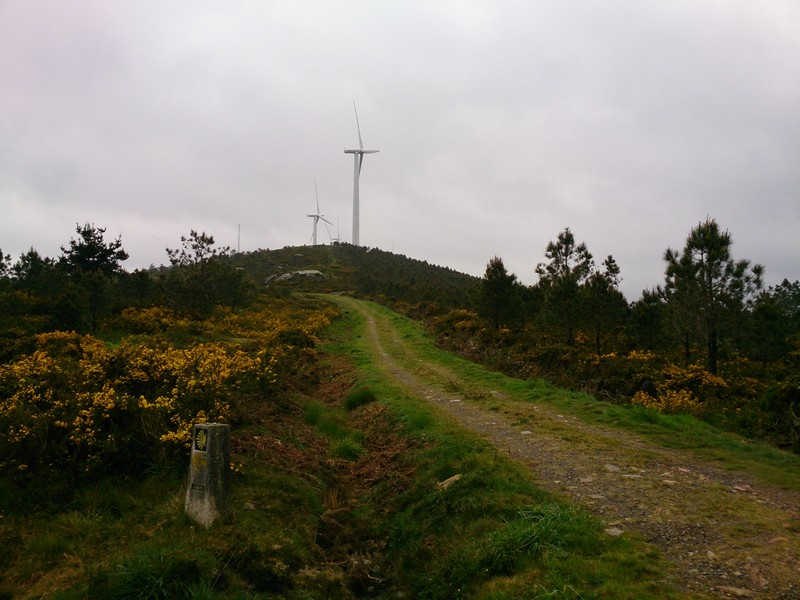 Wind turbines, Walking Camino de Santiago, Spain