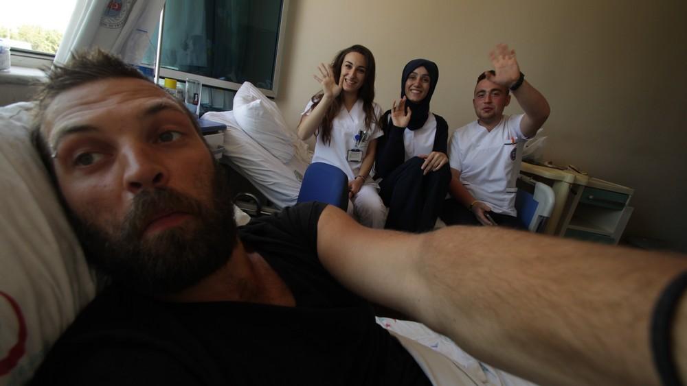 Marcis in hospital - traveling on motorbike