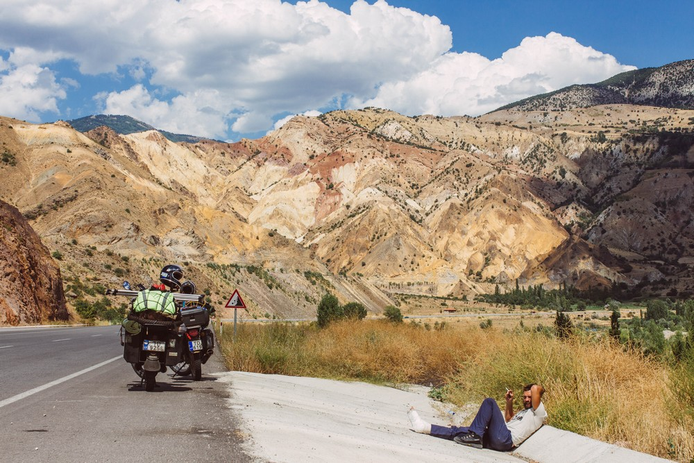 Resting on the side of the road - Traveling the World on a Motorbike