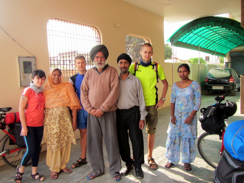 Three of us and Indian family we stayed with, Patiala, Northern India