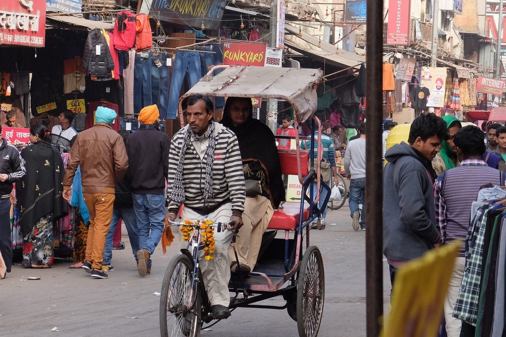 Bicycle rickshaw in Pahar Ganj, Delhi