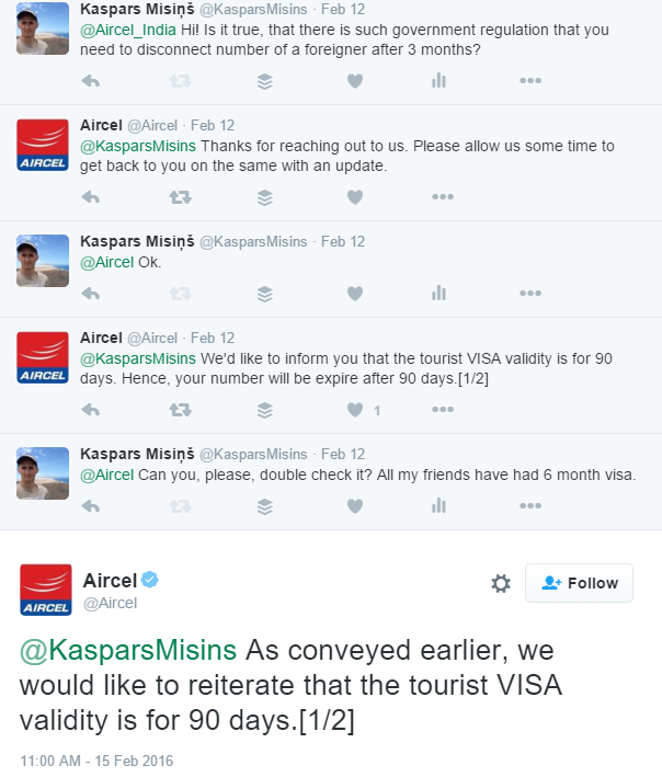 Aircel responds about Indian mobile numbers