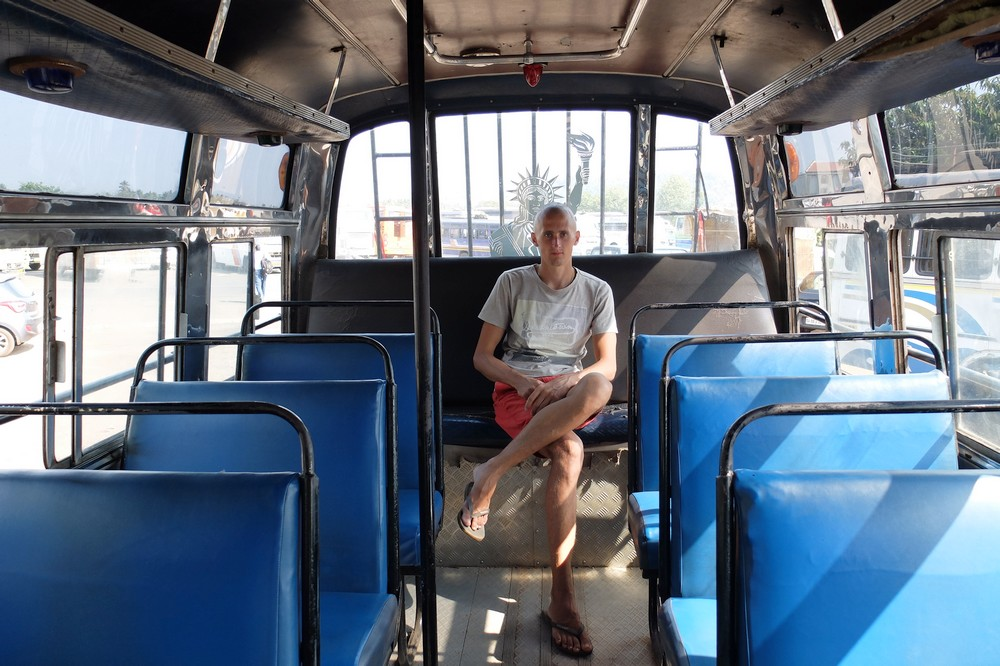 Kaspars in the bus in Goa