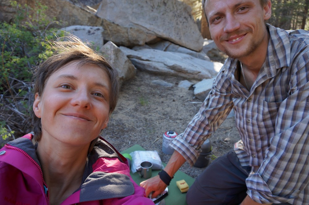 Rita and Peteris camping, on the PCT - Hiking the Pacific Crest Trail