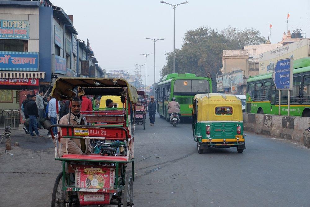 cycle rickshaw near New Delhi train station