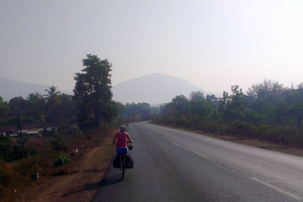 cycling under scorching sun to reach Udupi