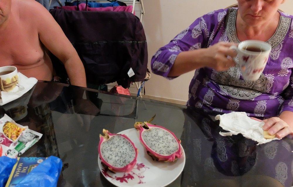 eating dragon fruit in Goa India