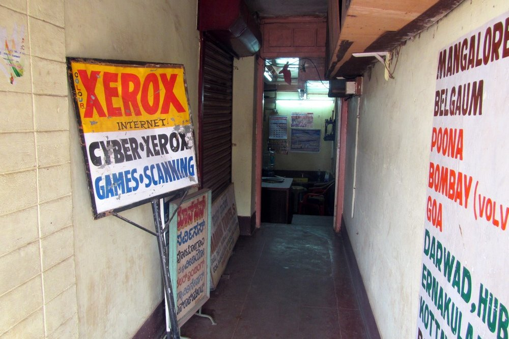 going to internet cafe in Mangalore India