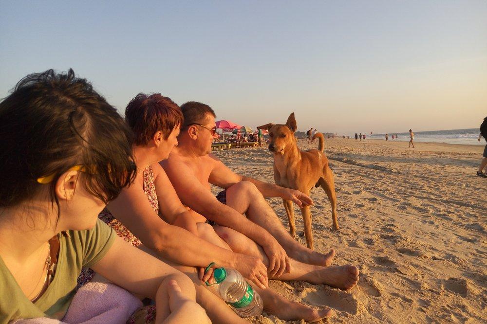 sitting on the beach in Goa India