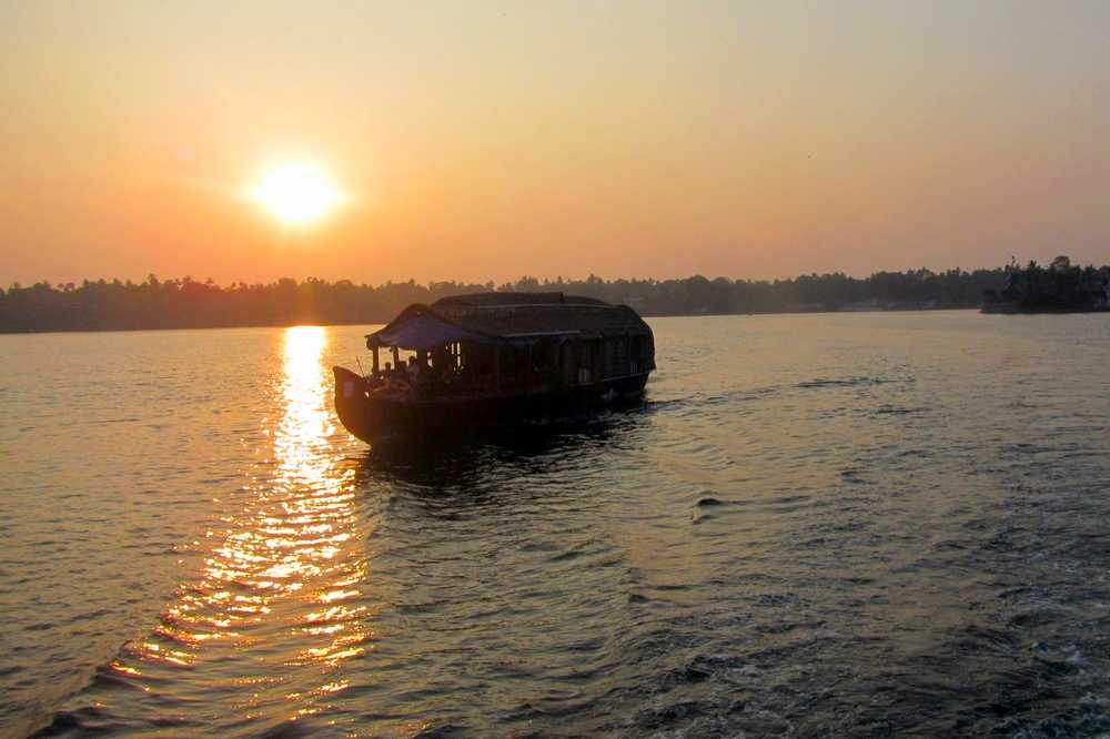Sunset over Kerala backwaters