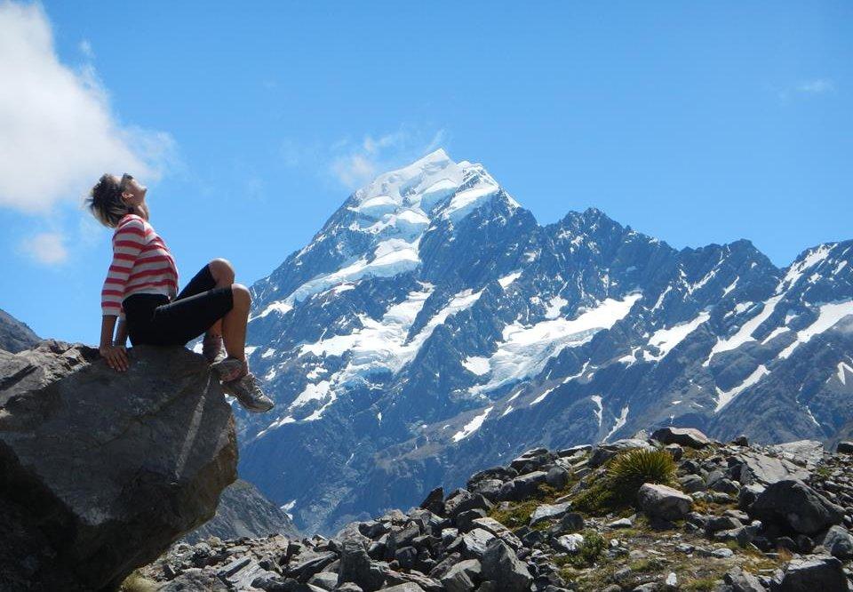 Linda Rinke in New Zealand - by Mt Cook