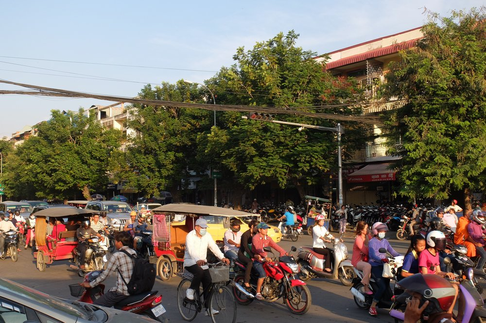 Afternoon traffic in Phnom Penh Cambodia