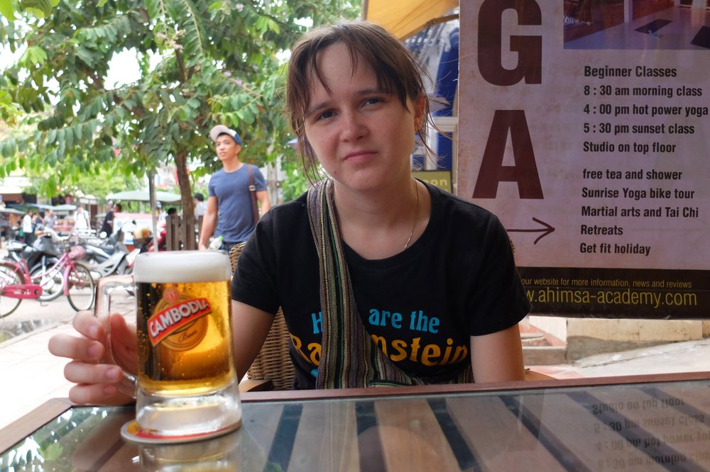 Una drinking beer - Siem Reap