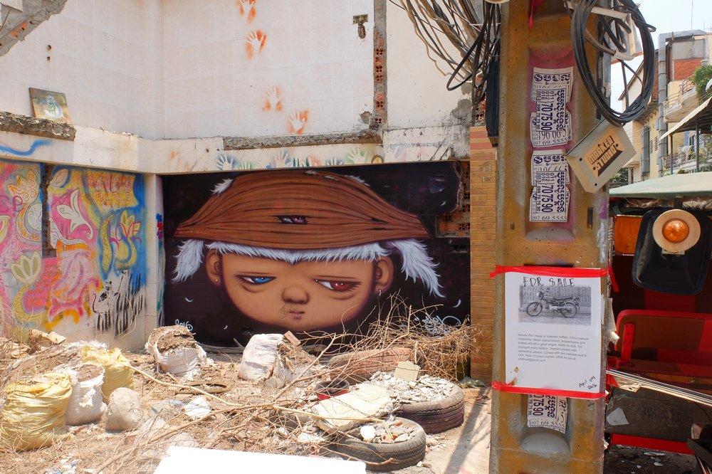 graffiti at lakeside - Phnom Penh, Cambodia