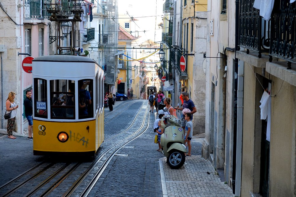 Funicular in Lisbon Portugal - traveling to Lisbon