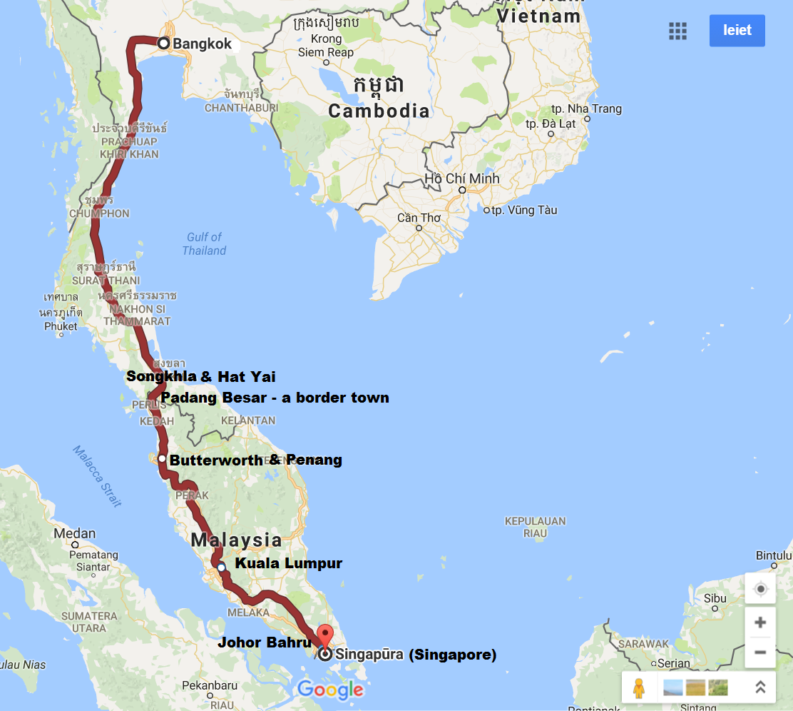 Train route from Bangkok, the capital of Thailand, to Singapore
