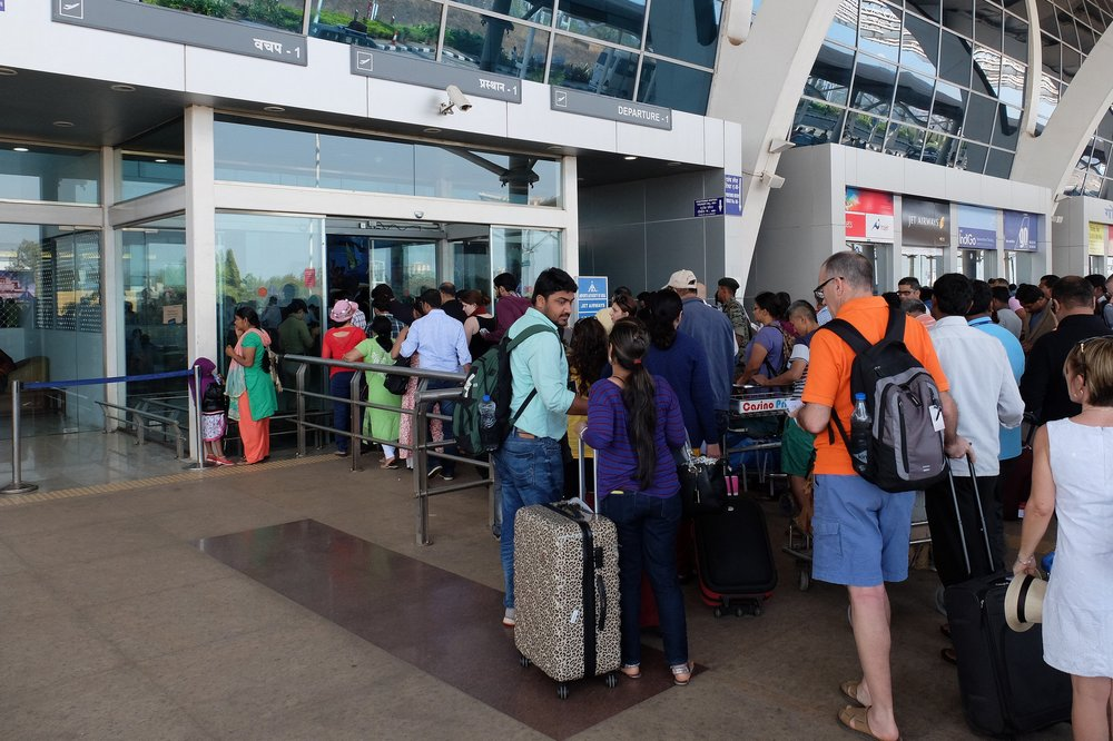 Queue outside Goa International airport