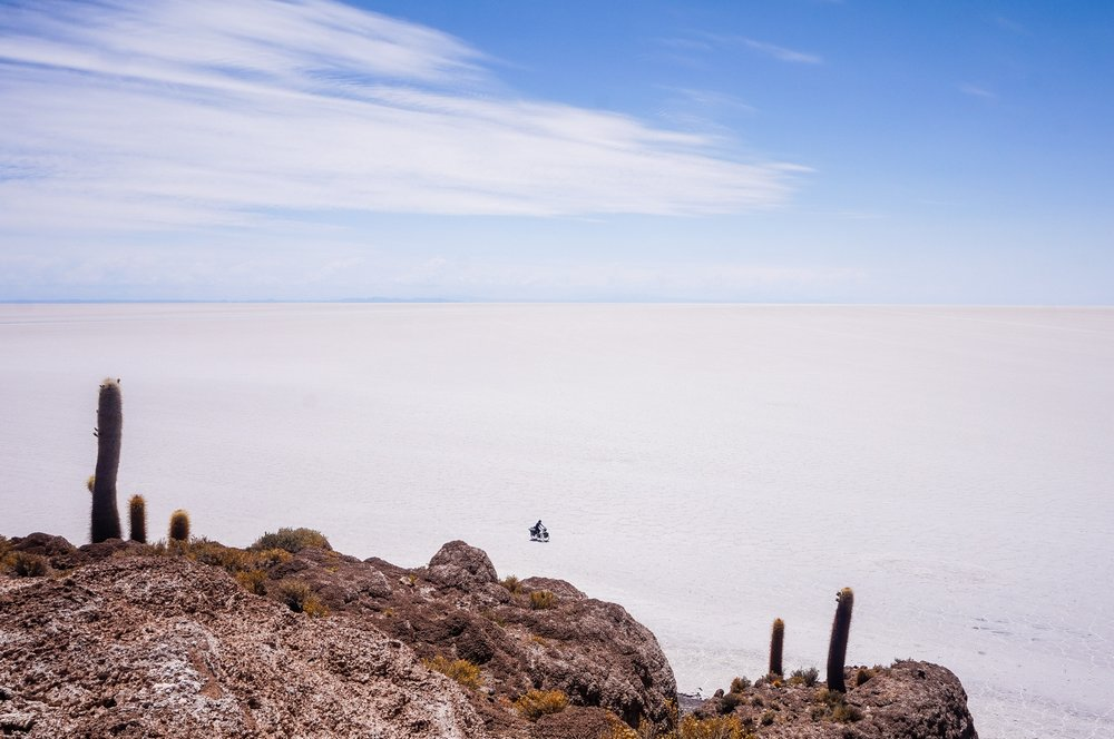 Cycling across Salar de Uyuni