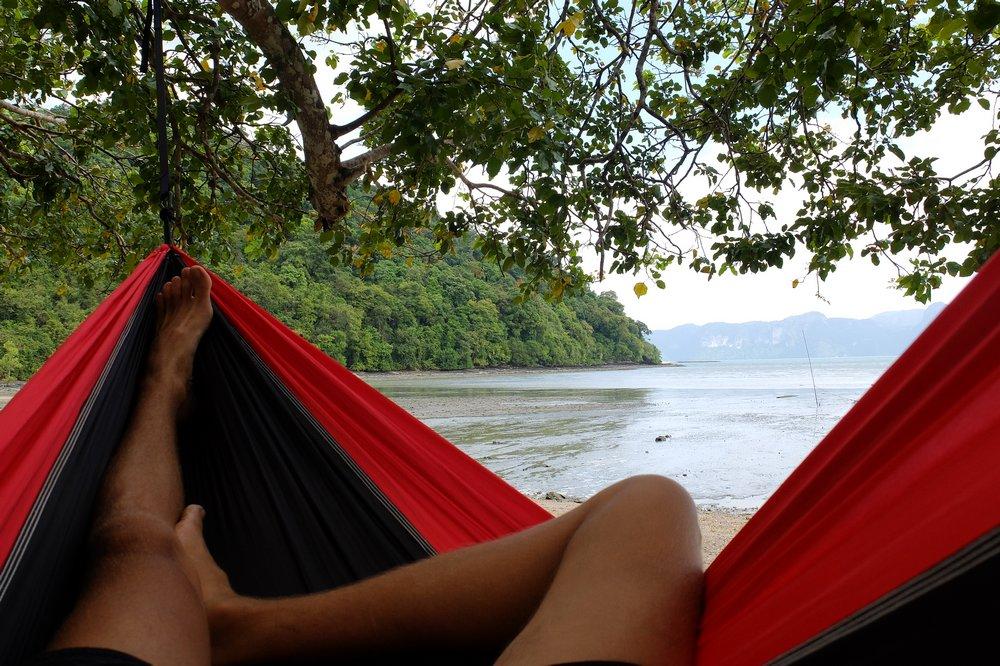 Kaspars sleeping in a hammock - Langkawi island, Malaysia