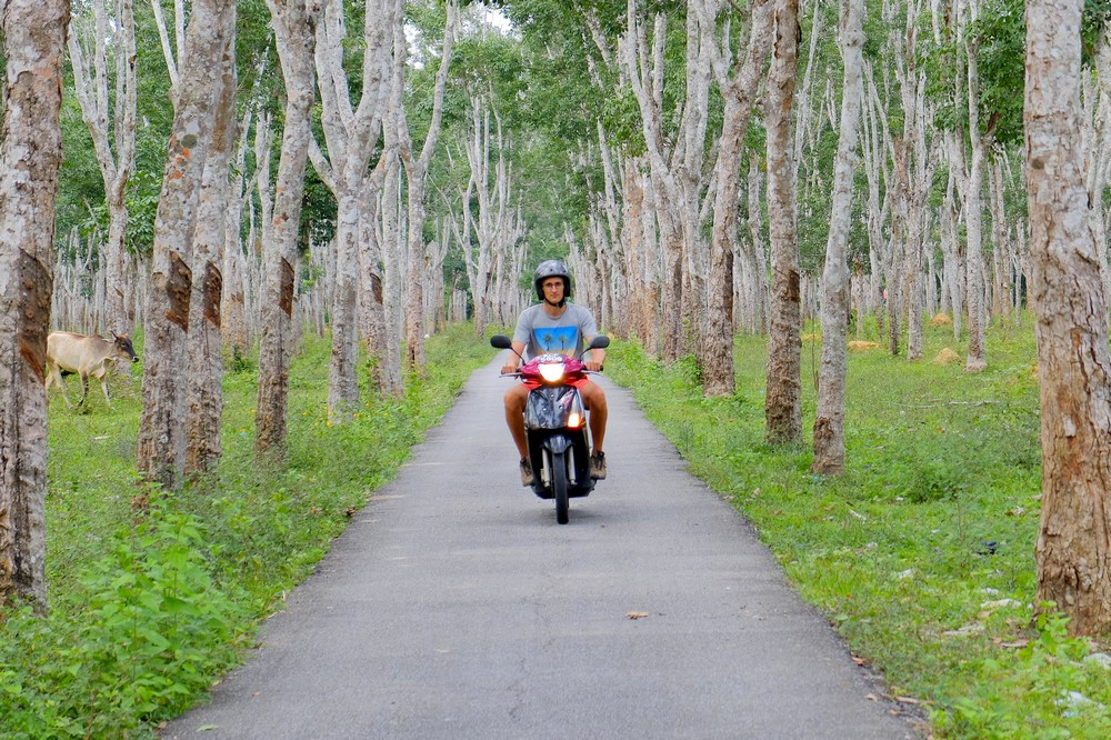 Kaspars on a scooter in Langkawi, Malaysia - Renting a scooter in Langkawi