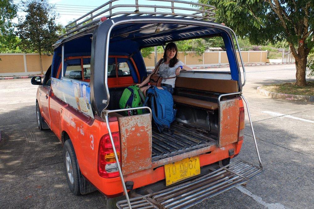 Una sitting in songthaew - Thailand