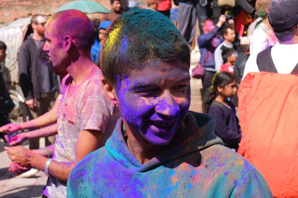 A boy with blue face - Kathmandu - Holi in Nepal