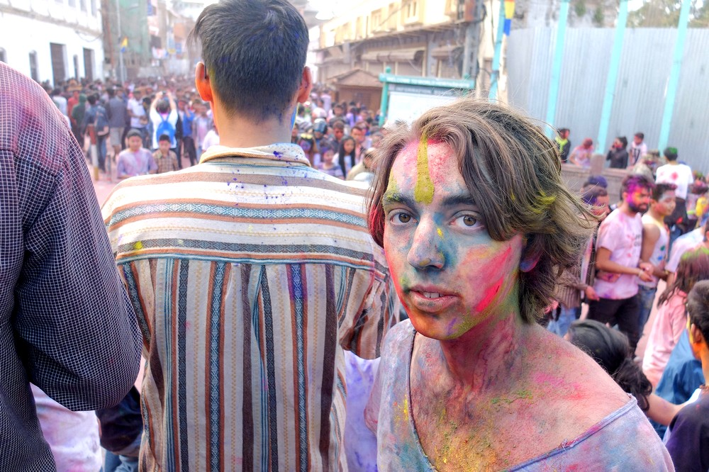 A guy with painted face - Kathmandu - Holi in Nepal