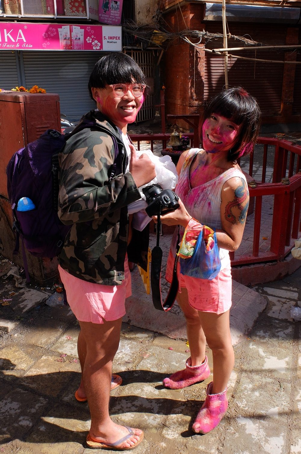 Asian couple - Kathmandu - Holi in Nepal