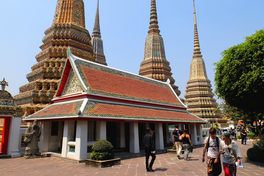 At Wat Pho complex - Bangkok to Singapore Overland Backpacking Itinerary