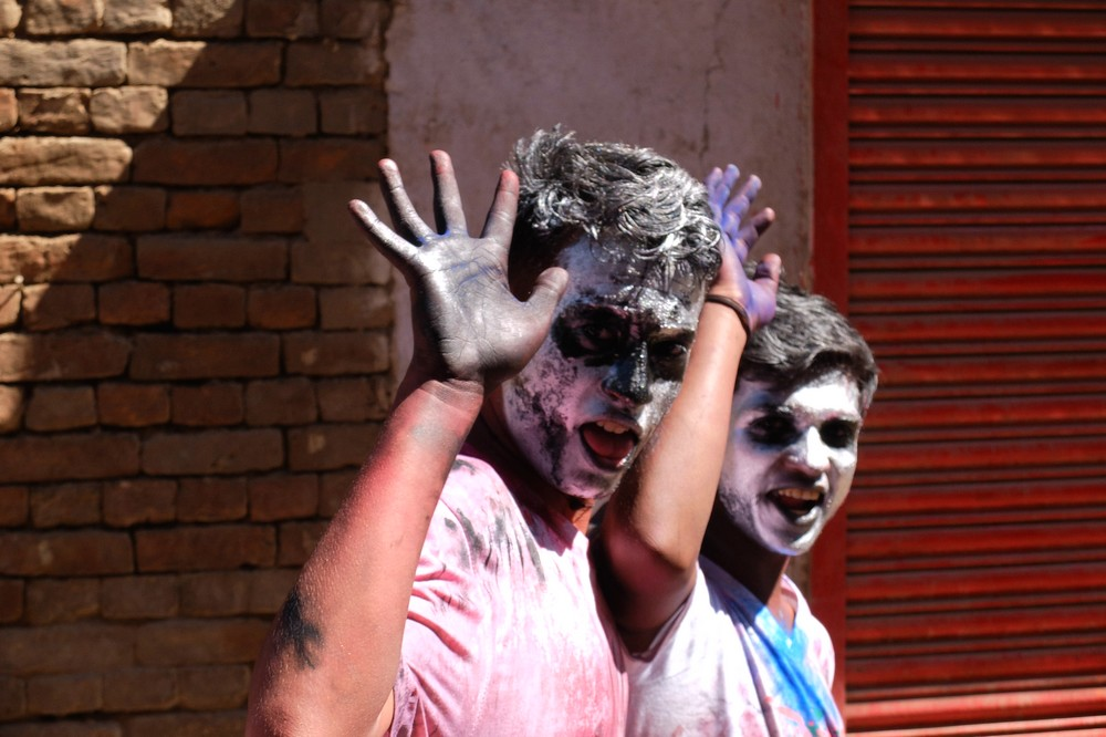 Guys with black faces - Kathmandu - Holi in Nepal