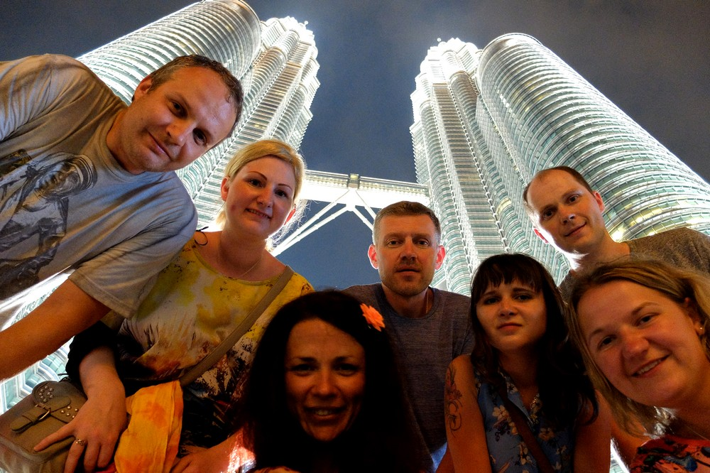 In front of Petronas Towers - Bangkok to Singapore Overland Backpacking Itinerary