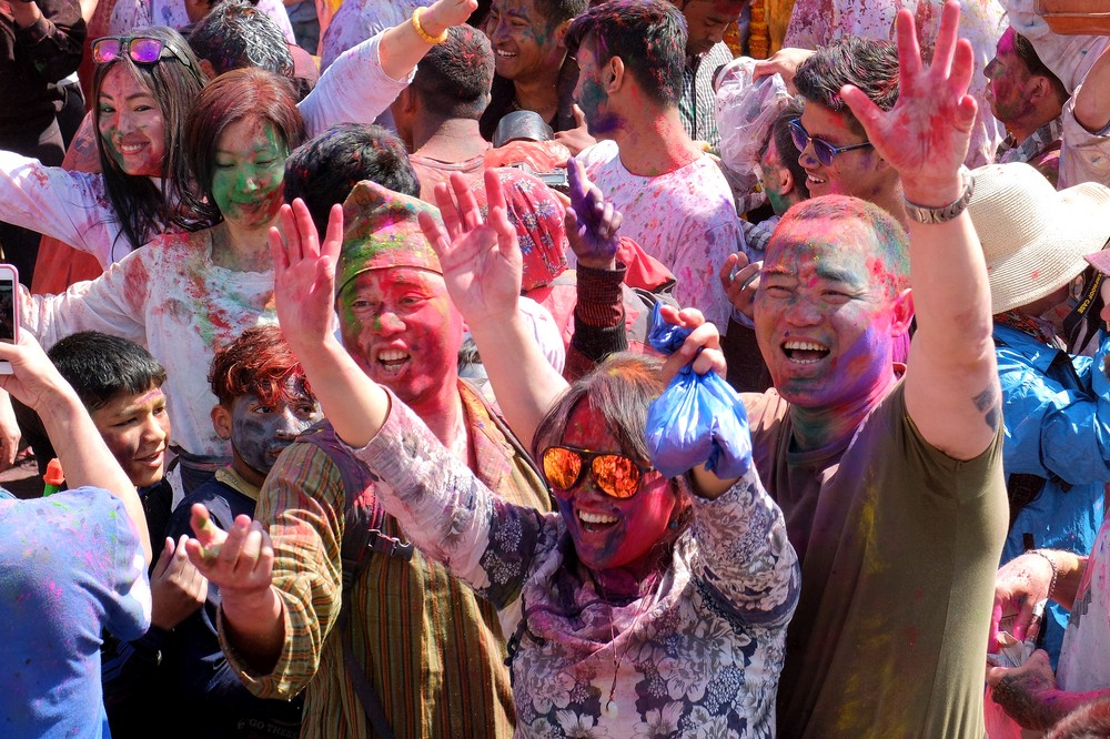 People enjoying themselves during Holi - Kathmandu - Holi in Nepal