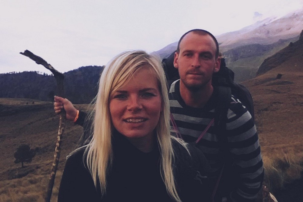 Laine and Arturs in the mountains - Around the World Trip