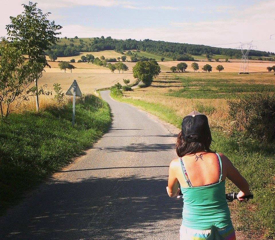 Una on bicycle in Burgundy, France