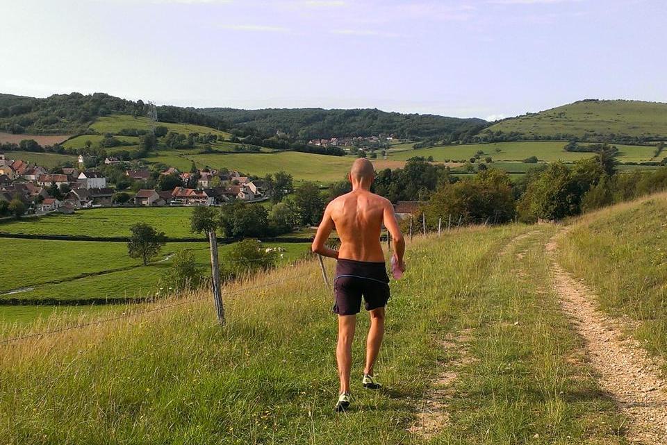 Kaspars running in Burgundy, France