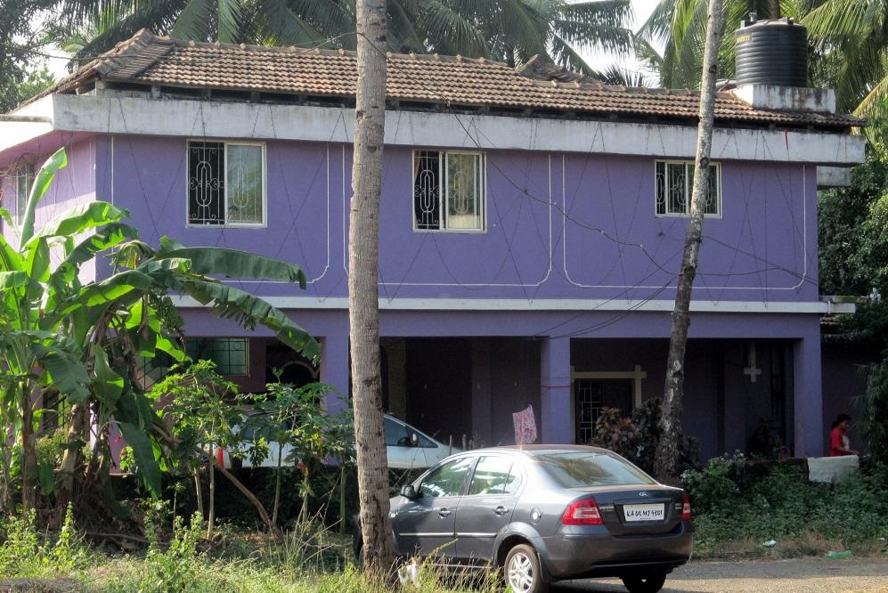 A purple house in Goa, India