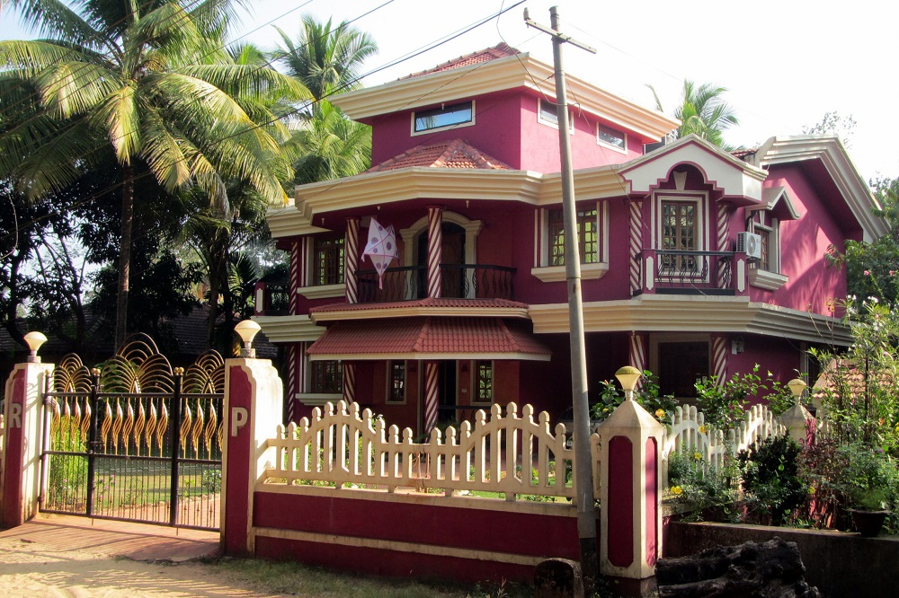 A pink house in Goa, India
