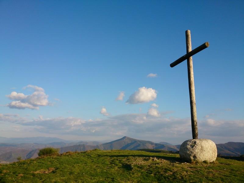 Crossing the mountains while Walking Camino de Santiago - Spain