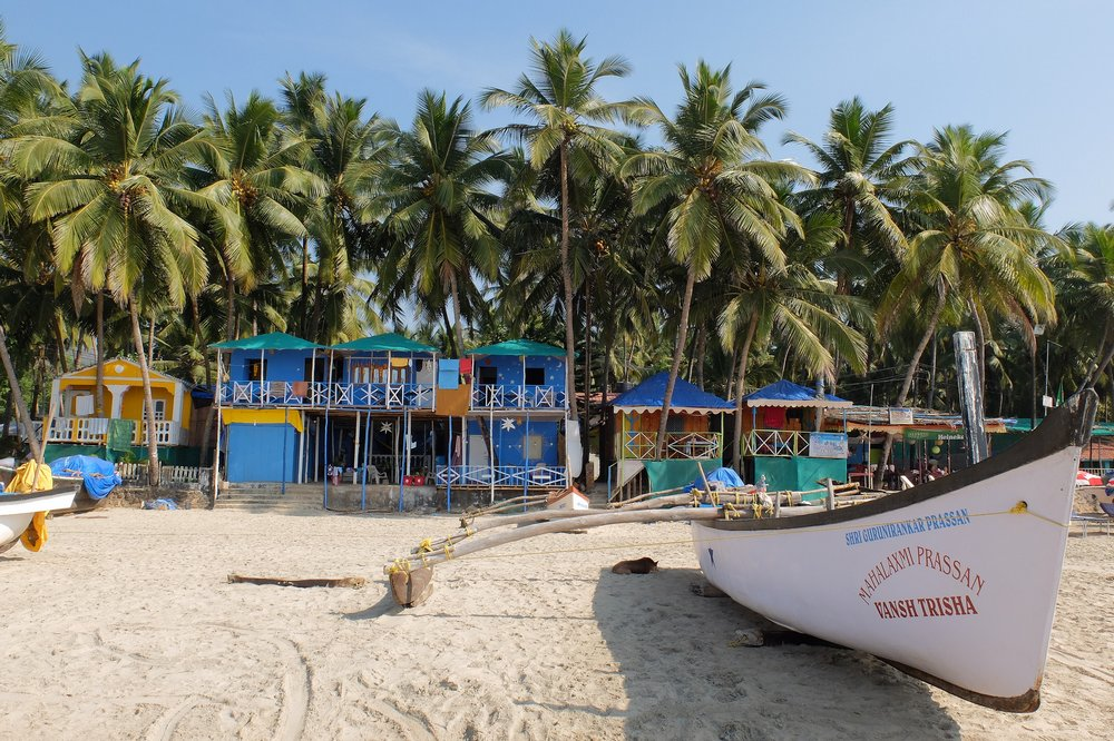 Beach huts on the Palolem beach, Goa