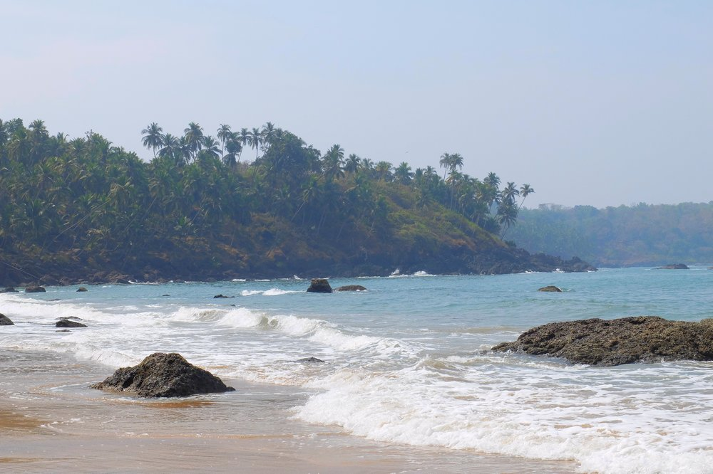 Rocks on Cabo de Rama beach, Goa